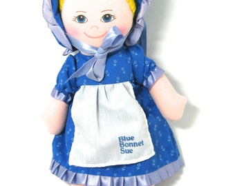 Blue Bonnet Sue, Vintage Rag Doll, Collectible Doll, Promotional Doll, Material Doll, Margarine Promo, Blue Bonnet Margarine Doll