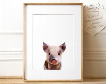 Nursery animal print PRINTABLE art,baby pig print,nursery decor,animal art,baby animals,nursery wall art,piglet print,kids art,baby animal