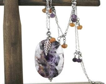 Purple Cape Amethyst Long, Minimalist Dangling Necklace, Minimalist Jewelry. Long Necklace, Gemstone Necklace, Leaf Charm Necklace