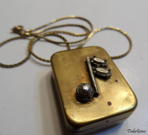 Vintage swiss mechanical wind up music box pendant breitler like this item aloadofball Gallery
