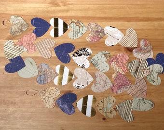 5ft, Heart Shaped Map Paper Garland