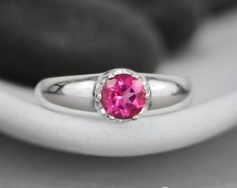 Contemporary Solitaire Ring - Sterling Silver Minimalist Ring - Simple Engagement Ring - Pink Gemstone Ring - November Birthstone Ring