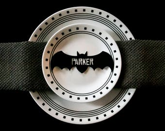 Halloween Bat Place Cards, Gold Silver Or Black Bat Place Cards,Halloween Cut Place Cards for Dinner Party, Bat Birthday party place cards