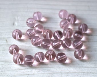 Pink glass 8mm round beads SALE