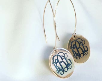 Rose Gold Monogrammed Earrings, Highly Polished Rose Gold Plated Stainless Steel