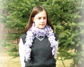 Knitted Scarf, Light Purple Scarf, Sparkly Purple Scarf, Lavender Knitted Scarf, Purple Crocheted Scarf, Light Purple Ruffled Scarf