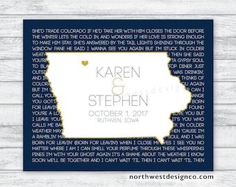 Iowa wedding etsy wedding song lyrics canvas iowa state map personalized wedding gift anniversary gift state poster customize any stopboris Choice Image