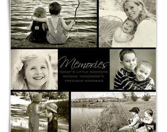 Family Collage Template - TOMORROW'S MEMORIES - (1) 12x12, 1-Sided Digital Photoshop Template for Photographers and Scrap Bookers.