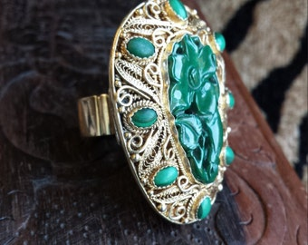 Sterlin silver malachite floral large face designer ring