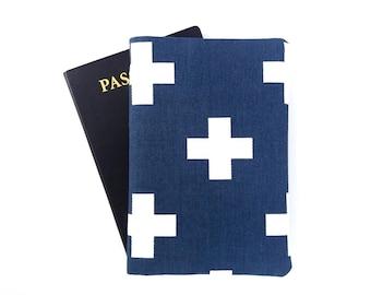 Men passport cover, Holder for 2 passports, Boyfriend gift, Travel gift for him, White cross on blue, Dual citizenship
