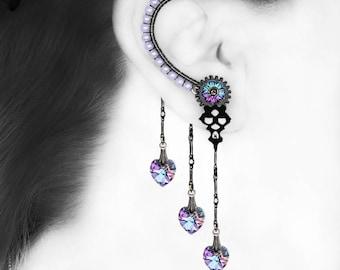 Vitrail Light Steampunk Ear Wrap, No Piercing, Pastel Crystal, Cartilage Earring, Clock Hands, Statement Jewelry, Feminine Earring,  v8