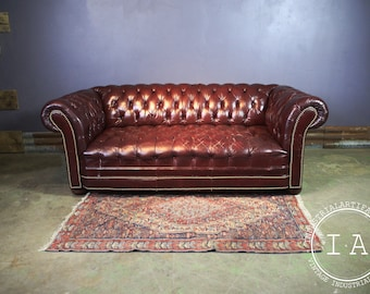 Midcentury Chesterfield Couch in Oxblood