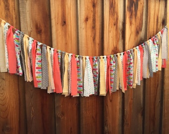 Bridal shower decor, Fabric garland, Ribbon garland, Bridal shower garland, Spring decor, Photo prop, Tribal decor, Baby nursery, Adventure
