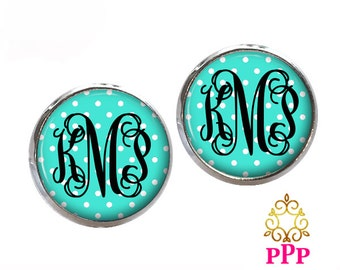 Aqua Blue Polka Dot Monogram Stud Earrings, Monogram Earrings, Monogram Jewelry  (528)