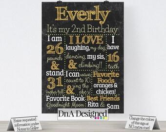 Chalkboard Second Birthday DIGITAL Print - Photo Prop - Birthday Poster - Party Supplies - DIY