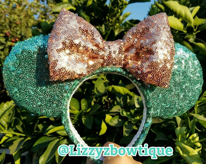 Mint Sequin Minnie ears with Rosegold bow or pick any color Sequin Bow