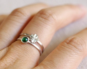 four leaf clover ring . lucky clover ring . shamrock stacking ring . stackable clover ring . st. patrick's day . shamrock jewelry