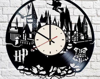 Hogwarts School vinyl wall clock Harry Potter wall clock Wizarding school gift Hoggwart wall decor Witchcraft and Wizardry wall clock