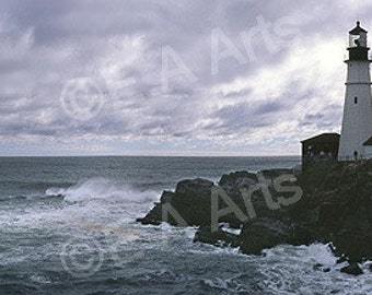 Portland Head Light Storm Cape Elizabeth Maine Panoramic Photography Maine Color Art Print MADE IN US