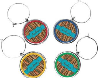Tribal Ribbons Wine Charms (Set of 4) (Personalized)