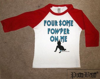 Pour Some Powder On Me hand screen printed, red/white, kids baseball tee for fans of Def Leopard, 80s, hair metal