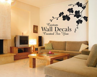Orchid Wall Decal, Beautiful Orchid Decal, Orchid Vinyl Decal, Flower Decal,SALE