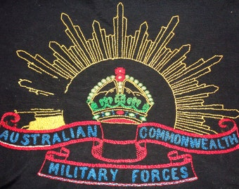 WW2 Australian Army Emblem. Australian Commonwealth Military Forces, 3rd Pattern, Rising Sun Embroidered Emblem. 45cm x 47cm Black Fabric.
