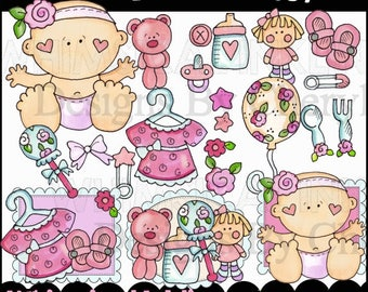 Baby Clipart - Girls Clipart - Baby Girl Clipart -Instant Download - Pink Bundle of Joy - Baby Shower Clipart - Commercial Use