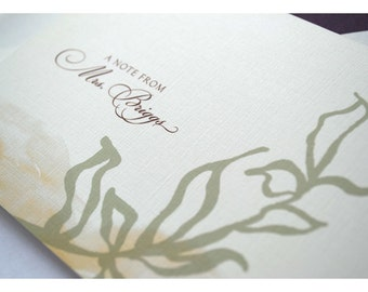Natural Leaf and Watercolor Personalized Stationery Note Card Set
