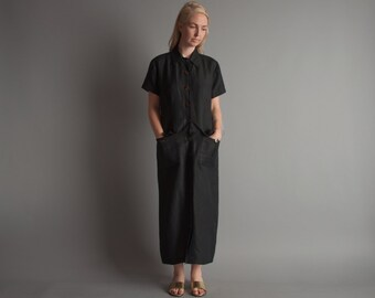 let the right one black linen maxi dress / s / 1093d