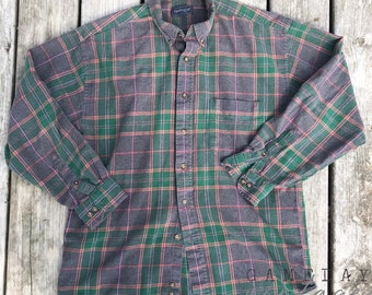 Vintage Green and Purple Flannel M