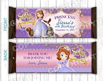 Candy Bar Wrappers de 10 Princesa Sofía el primer cumpleaños fiesta grande Hershey