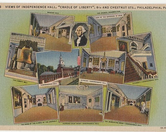 Antique Vintage Postcard A13 Independence Hall Philadelphia PA Pennsylvania 1933 Linen