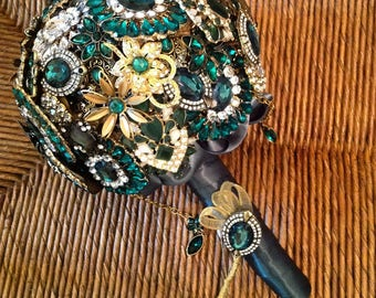 DEPOSIT | Custom Made Brooch Bouquet | Jeweled Bridal Bouquet | Wedding Bouquet | Keepsake Memory Bouquet