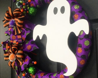 READY TO SHIP Halloween Ghost Ribbon Wreath with Polka Dots and Floral Spray
