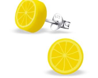 Childrens Sterling Silver Lemon Earrings