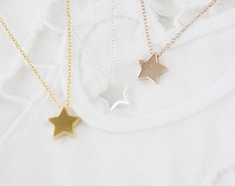 Tiny 925 Sterling Silver Star Charm Necklace . Bridesmaid Necklace Bridesmaid Gift . Dainty and Simple Necklace Birthday Gift .