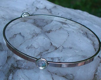 Recycled Repurposed Vintage Clear Milk Bottle Glass Stacking Bangle Bracelet