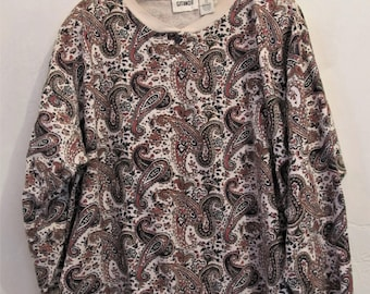 A Women's Vintage 80's,Funky PAISLEY Print Henley Type Top With Shoulder Pads BY GITANO.2X