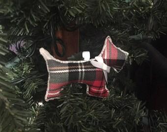 Scottie Dog Ornament - White bow