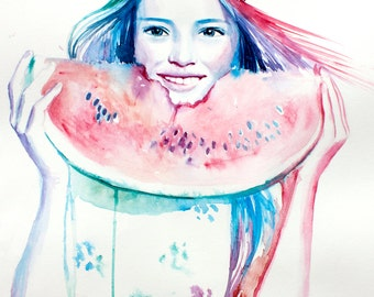 Original Watercolor Painting . Girl Portrait painting girl smile with watermelon in her hands . Love watermelon.