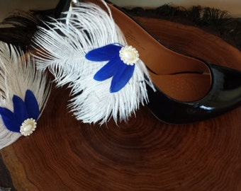 Winter Wonderland Ostrich Feather Shoe Clips
