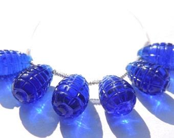 6 Pcs Beautiful Cobalt Blue Quartz Hand Carved Drops Briolette Size 15*9 MM
