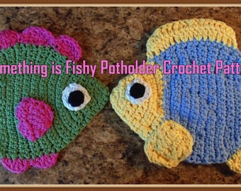 Something is Fishy Potholder Crochet Patterns PDF  - INSTANT DOWNLOAD
