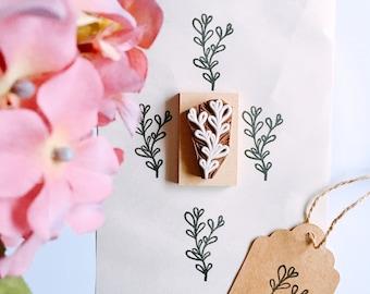 Green Leaf stamp - Nature Stamp - Thyme Stamp - Floral Greenery - Wedding - Herb Stamp - hand carved stamp - rubber stamp