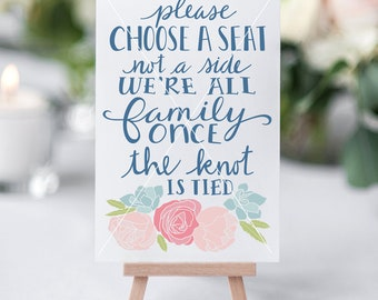Choose a Seat Sign, Wedding Printable, Please Choose a Seat, Hand Lettered, SVG Cut File, Graphic Overlay