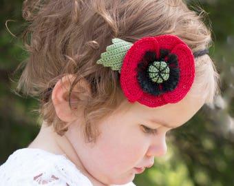 HEADBAND SALE Red Poppy Flower Headband crochet Poppy Flower nylon headband Hair Accessory Baby Headband Newborn Headband Red Flower Tieback