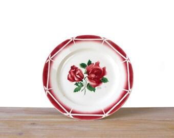 Assiette Digoin faïence de Sarreguemines, grande assiette porcelaine, assiette ancienne en faience motif floral rouge, assiette rose rouge