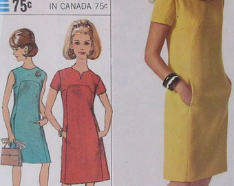 Vintage  1967  Simplicity Misses One Piece  Dress Designer Fashion  Pattern 6959 size 10