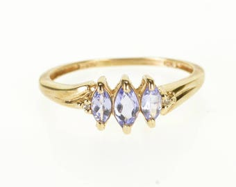 10k Tanzanite Three Stone Marquise Diamond Inset Ring Gold